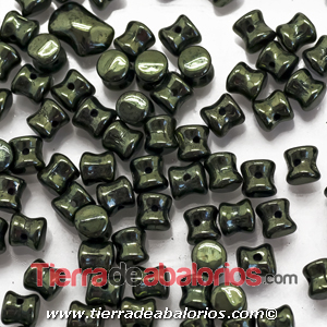 Pellet Diabolo Beads 4x6mm Green Metallic (50 uds)
