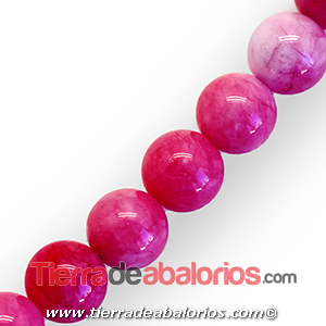 Jade Bola 10mm Agujero 1mm, Rosa Chicle