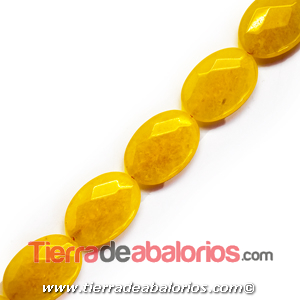 Jade Oval Tallado 25x18mm Agujero 1,5mm, Amarillo