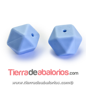 Hexagono Silicona 16mm Agujero 2mm, Azul Claro Pastel