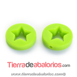 Moneda con Estrella 20x7mm Agujero 2,2mm, Verde