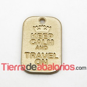 Colgante Keep Calm And Travel On 40x25mm, Dorado (10 uds)