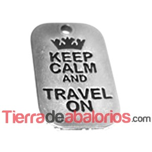 Colgante Keep Calm And Travel On 40x25mm, Plateado (10 uds)