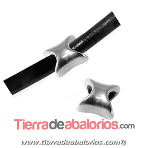 Tubo Irregular 9x9mm Agujero 5mm, Plateado