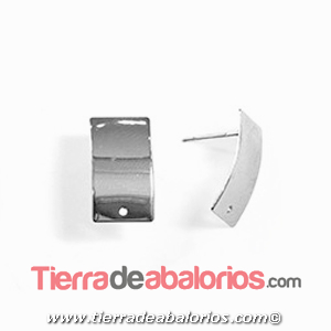 Pendiente Rectagular Curva 18x10mm, Plateado