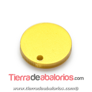 Colgante Plexyglass Moneda 17mm, Dorado