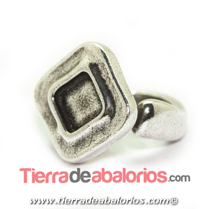 Anillo Ajustable Rombo 22x23mm, Plateado