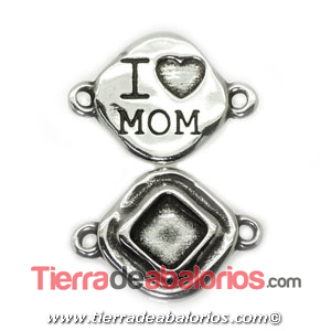 Conector Rombo I'Love Mom 28x20mm, Plateado