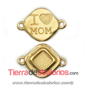 Conector Rombo I'Love Mom 28x20mm, Dorado Matizado