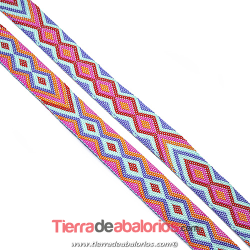 Cinta Étnica Reversible 20mm, Multicolor Fucsia/Morado