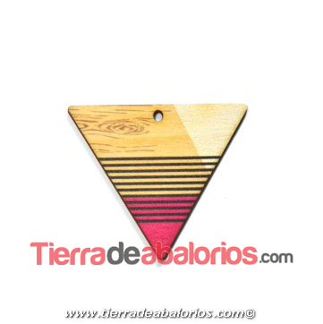 Colgante Madera Triangulo 43x37mm, Natural / Multicolor