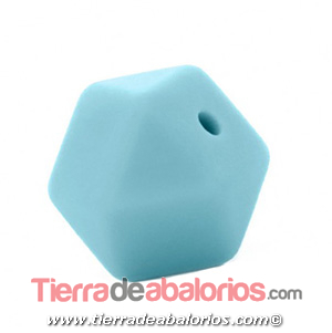 Hexagono Silicona 16mm Agujero 2mm, Turquesa