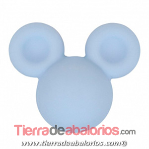 Mickey Mouse de Silicona 24x20mm Agujero 2,5mm, Azul