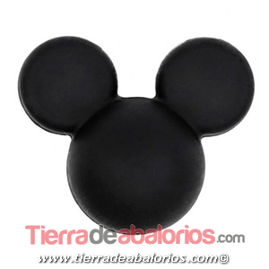Mickey Mouse de Silicona 24x20mm Agujero 2,5mm, Negro