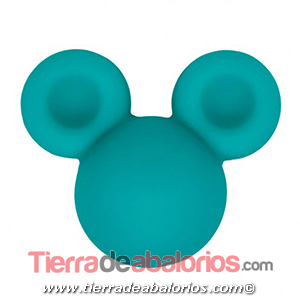 Mickey Mouse de Silicona 24x20mm Agujero 2,5mm, Turquesa