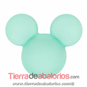Mickey Mouse de Silicona 24x20mm Agujero 2,5mm, Verde Pastel