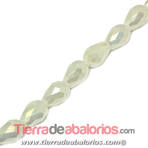 Gota de Cristal Facetada 12x8mm Agujero 1,3mm Blanco Nacar