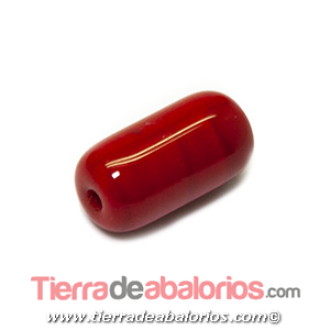 Barril Cristal Checo 20x11mm Agujero 2,5mm, Rojo Coral