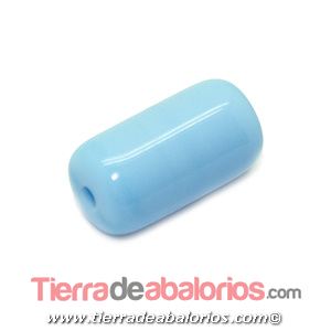 Barril Cristal Checo 20x11mm Agujero 2,5mm, Celeste