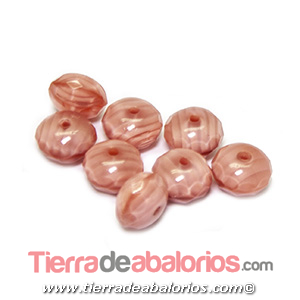 Bola Rondel Facetado 9x6mm Agujero 1,2mm, Rosa Palo