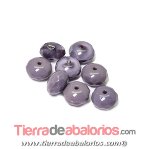 Bola Rondel Facetado 9x6mm Agujero 1,2mm, Morado