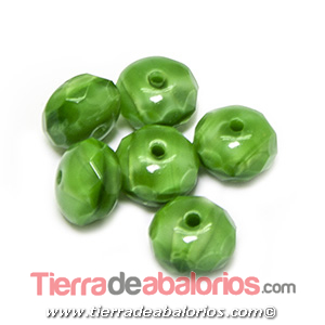 Bola Rondel Facetado 9x6mm Agujero 1,2mm, Verde