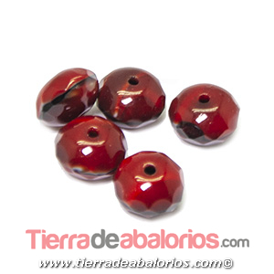 Bola Rondel Facetado 9x6mm Agujero 1,2mm, Granate