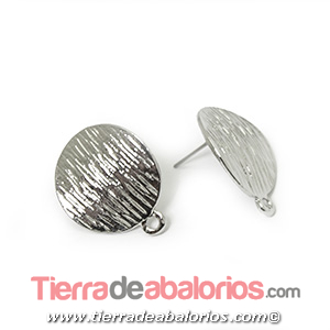 Pendiente Disco Curvado 20mm, Plateado Rodio