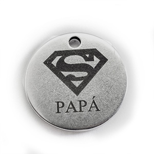 Colgante Moneda 25mm SuperMan Papá, Plateada