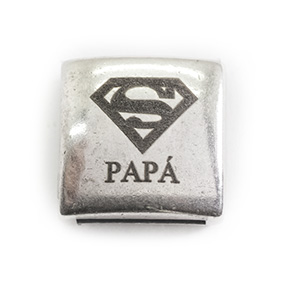 Pasador 18mm SuperMan Papá, Agujero 13x3mm, Plateado