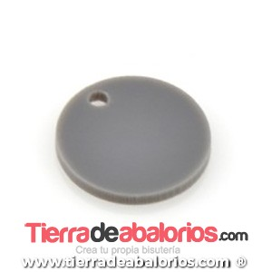 Colgante Metacrilato Moneda 19mm, Gris