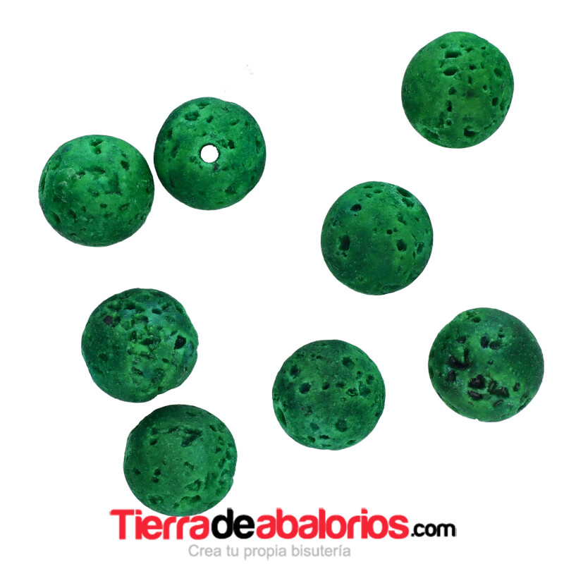 Lava Volcánica 8mm Agujero 1,5mm, Verde