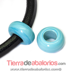 Rondel Murano 22mm Agujero 10mm, Turquesa Mate Brillo
