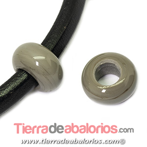 Rondel Murano 22mm Agujero 10mm, Gris Mate Brillante