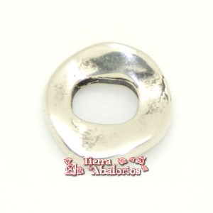 Aro Irregular Machacado 10mm Agujero 10x7mm, Plateado