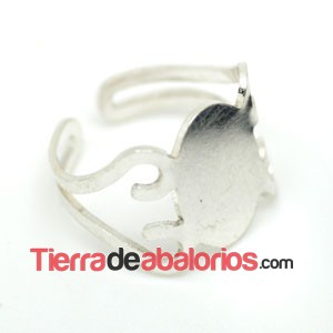 Anillo Ajustable 15x10mm, Base 15x10mm, Plata de Ley