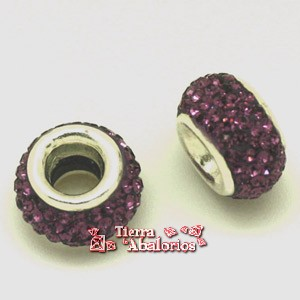 Rondel 10mm con Swarovski int. 5mm  - Amatista