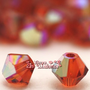 Tupi Swarovski 4mm, Indian Red AB