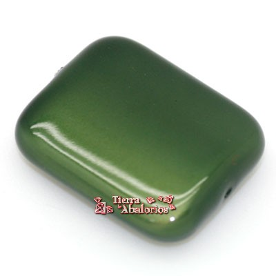 Resina Rectangular 25x23mm Agujero 1,9mm Khaki Metalizado