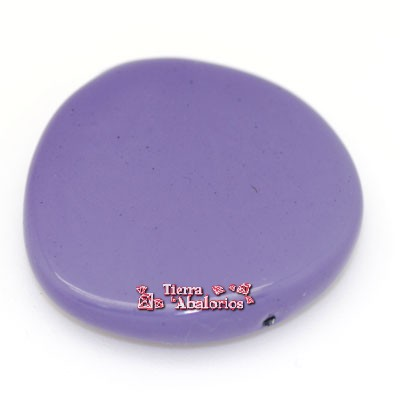 Resina Oval Irregular 30mm Agujero 1,9mm, Violeta Metalizado