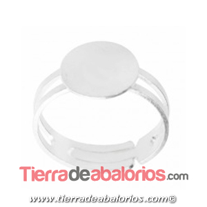 Anillo Ajustable Base Redonda 11mm, Plata de Ley