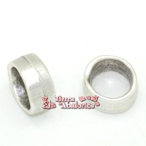 Aro Irregular 12x6mm Agujero 10mm, Plateado