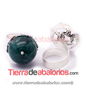 Anillo Ajustable con Filigrana para Bolas 18/20mm, Plateado