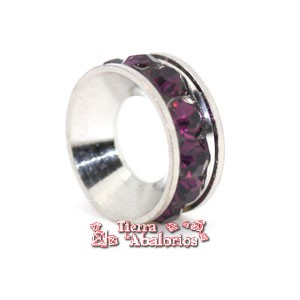 Rondel con Strass 10mm Agujero 5mm Amatista