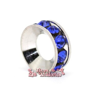 Rondel con Strass 10mm Agujero 5mm Sapphire
