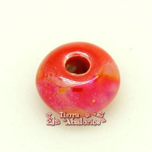Cerámica Rondel 14x8mm Agujero 3,5mm Light Red Irisado