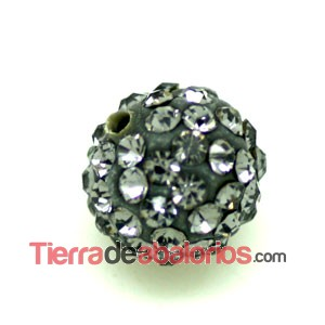 Bola Shamballa 10mm Agujero 1mm Black Diamond