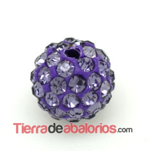Bola Shamballa 10mm Agujero 1mm Tanzanite