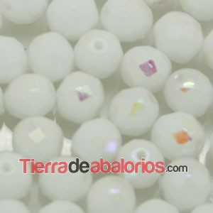 Facetada 8mm Blanco Mate AB