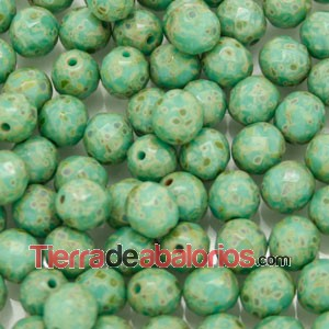 Facetada 8mm Opaque Green Turquoise Travertin